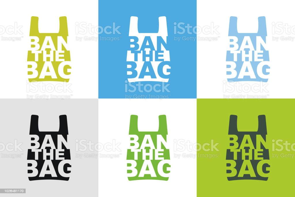 Ban the bag slogan design collection of different color combination. No plastic bag allowed concept. Cellophane and polythene package prohibition sign for stores and shops.Vector illustration isolated vector art illustration