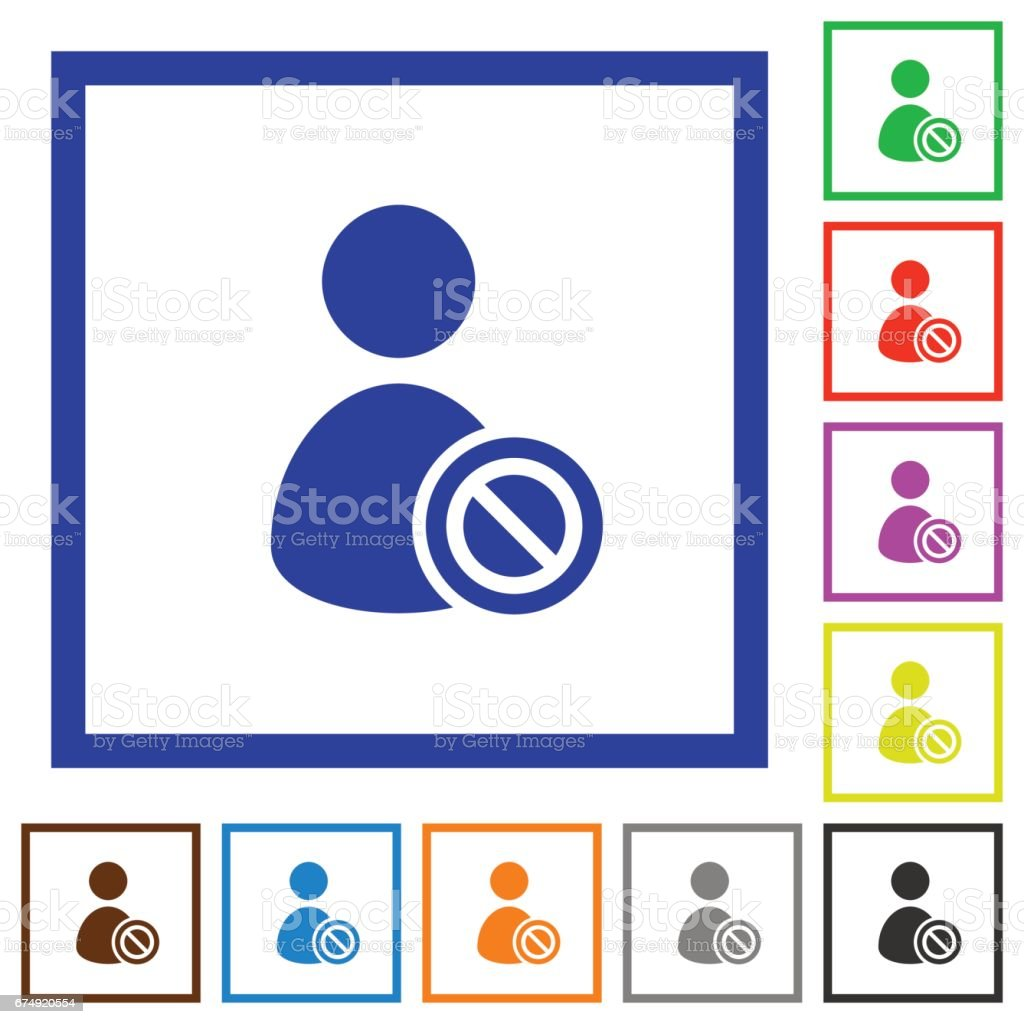 Ban user framed flat icons royalty-free ban user framed flat icons stock vector art & more images of administrator