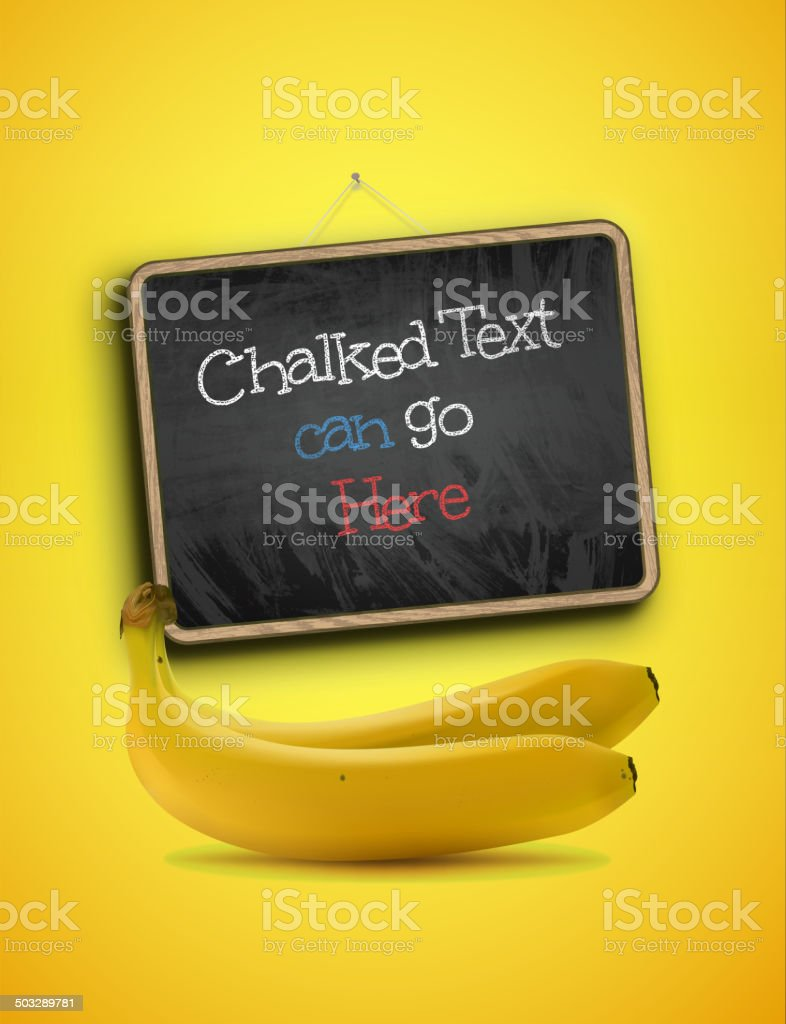 Banana and Blackboard royalty-free stock vector art