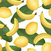istock Banana and lemon fruits with banana leaves on white background seamless pattern. Watercolor tropical summer print. 1312583697