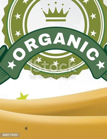 istock Banana and organic sticker 500275331