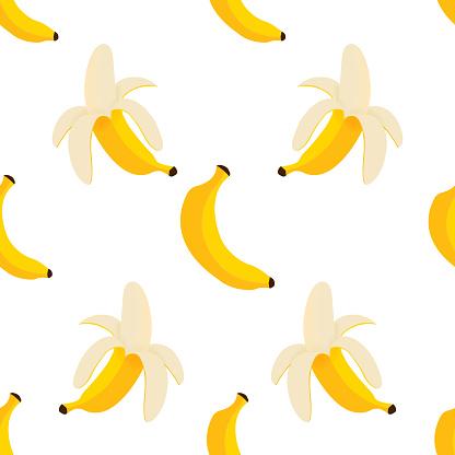 Banana and peeled banana seamless pattern. Vegetarian diet. Vector background design.