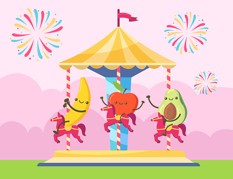 Banana, apple and avocado characters riding on chairoplane