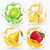 Banana, apple, lime, pear juice Realistic fruits splashes, 3d vector icon set