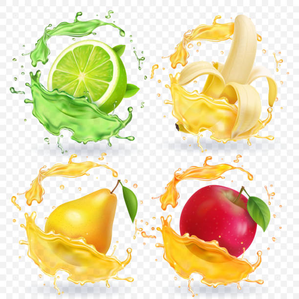 Banana, apple, lime, pear juice Realistic fruits splashes, vector icon set Banana, apple, lime, pear juice Realistic fruits splashes, 3d vector icon set fruit clipart stock illustrations
