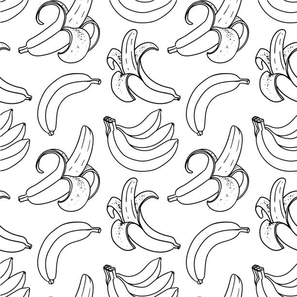 Banana black and white seamless pattern. Tropical background Banana black and white seamless pattern. Exotic fruits vector doodle background banana stock illustrations