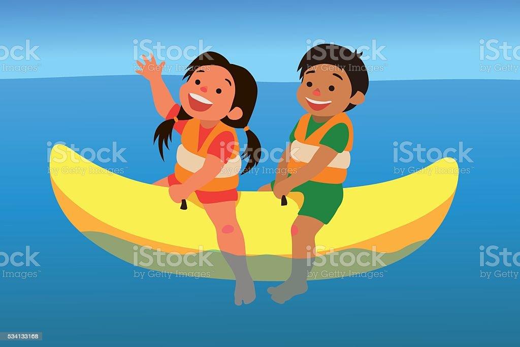 Banana boat ride vector art illustration