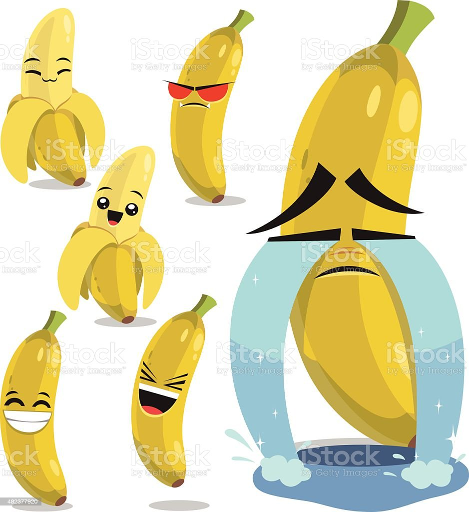 Banana Cartoon Set B vector art illustration