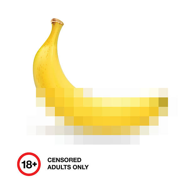 banana closed by censorship, symbol adult only 18 - adults only stock illustrations