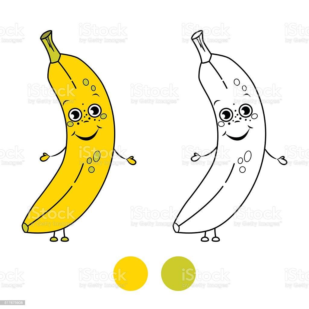 Ilustración de Plátano Libro Para Colorear Página Ilustración De ...