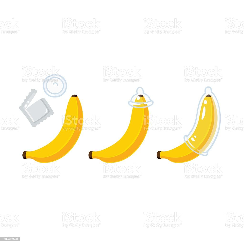 Banana condom illustration vector art illustration