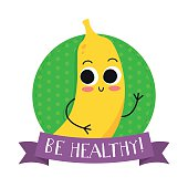"""Banana, cute fruit vector character bagde, bright illustration on dotted round background with """"Be healthy!"""" slogan"""