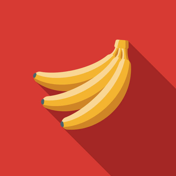 Banana Flat Design Breakfast Icon A breakfast food and beverage themed icon. File is built in the CMYK color space for optimal printing, and can easily be converted to RGB. Color swatches are global for quick and easy color changes throughout the entire set of icons. banana stock illustrations