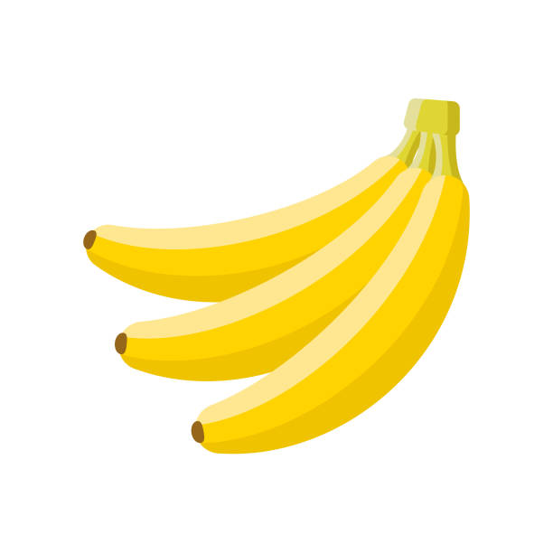 Banana Flat Design Fruit Icon A flat design styled fruit icon with a long side shadow. Color swatches are global so it's easy to edit and change the colors. File is built in the CMYK color space for optimal printing. banana stock illustrations