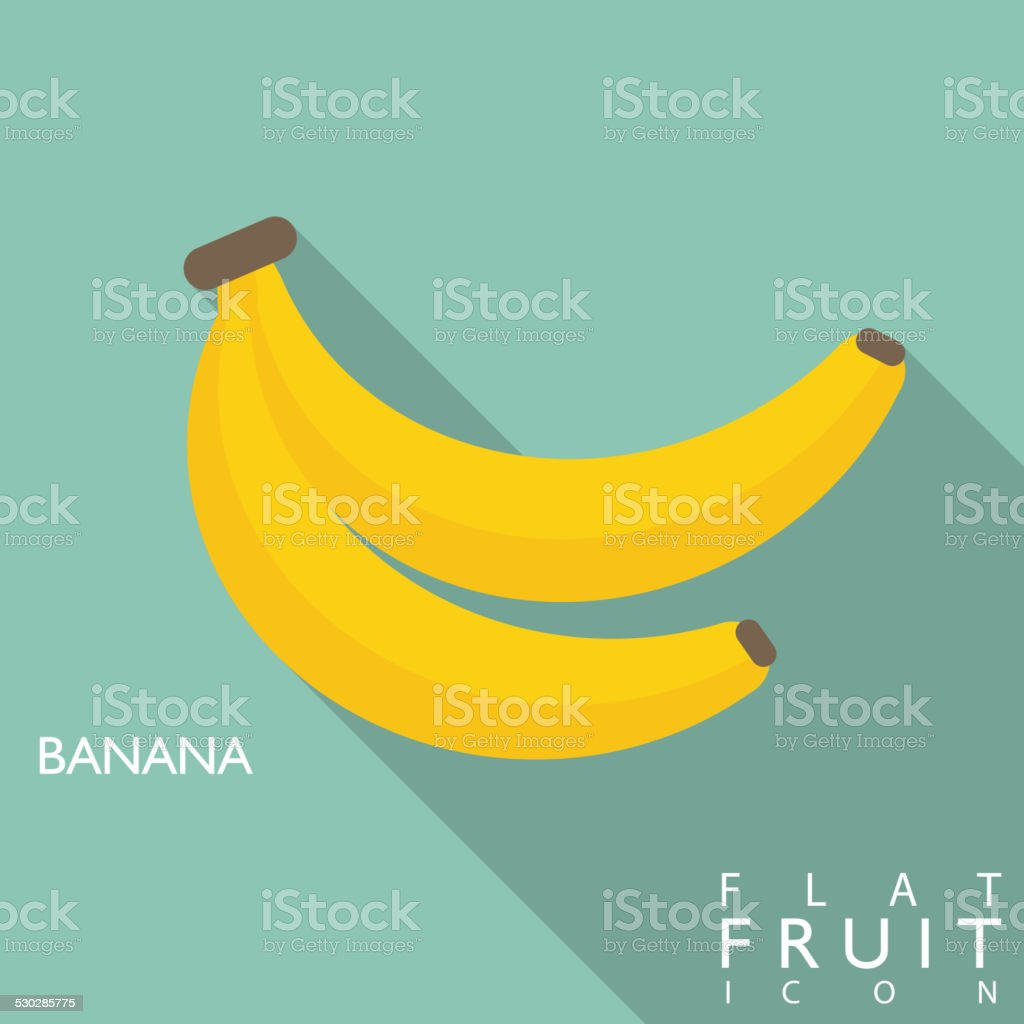Banana flat icon illustration with long shadow vector art illustration