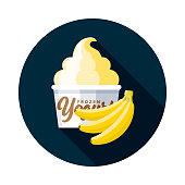 A flat design frozen yogurt icon with long side shadow. File is built in the CMYK color space for optimal printing. Color swatches are global so it's easy to change colors across the document.