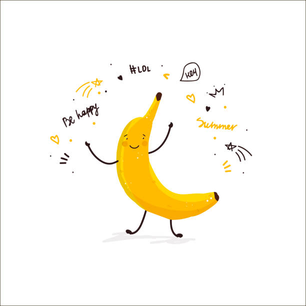Banana fruit cute cartoon doodle sketch illustration summer card Banana fruit cute cartoon doodle sketch illustration summer card print t-shirt design hand drawn vector in modern flat style banana stock illustrations