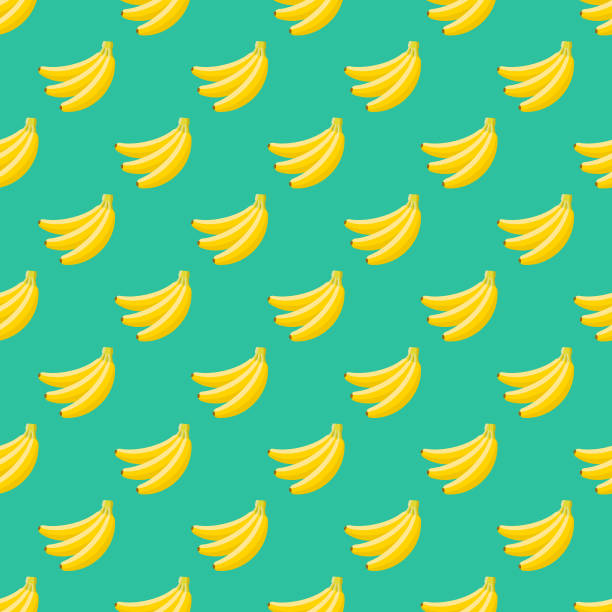 Banana Fruit Seamless Pattern A seamless pattern created from a single flat design icon, which can be tiled on all sides. File is built in the CMYK color space for optimal printing and can easily be converted to RGB. No gradients or transparencies used, the shapes have been placed into a clipping mask. banana stock illustrations