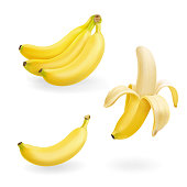 Banana fruit set vector realistic icons illustration