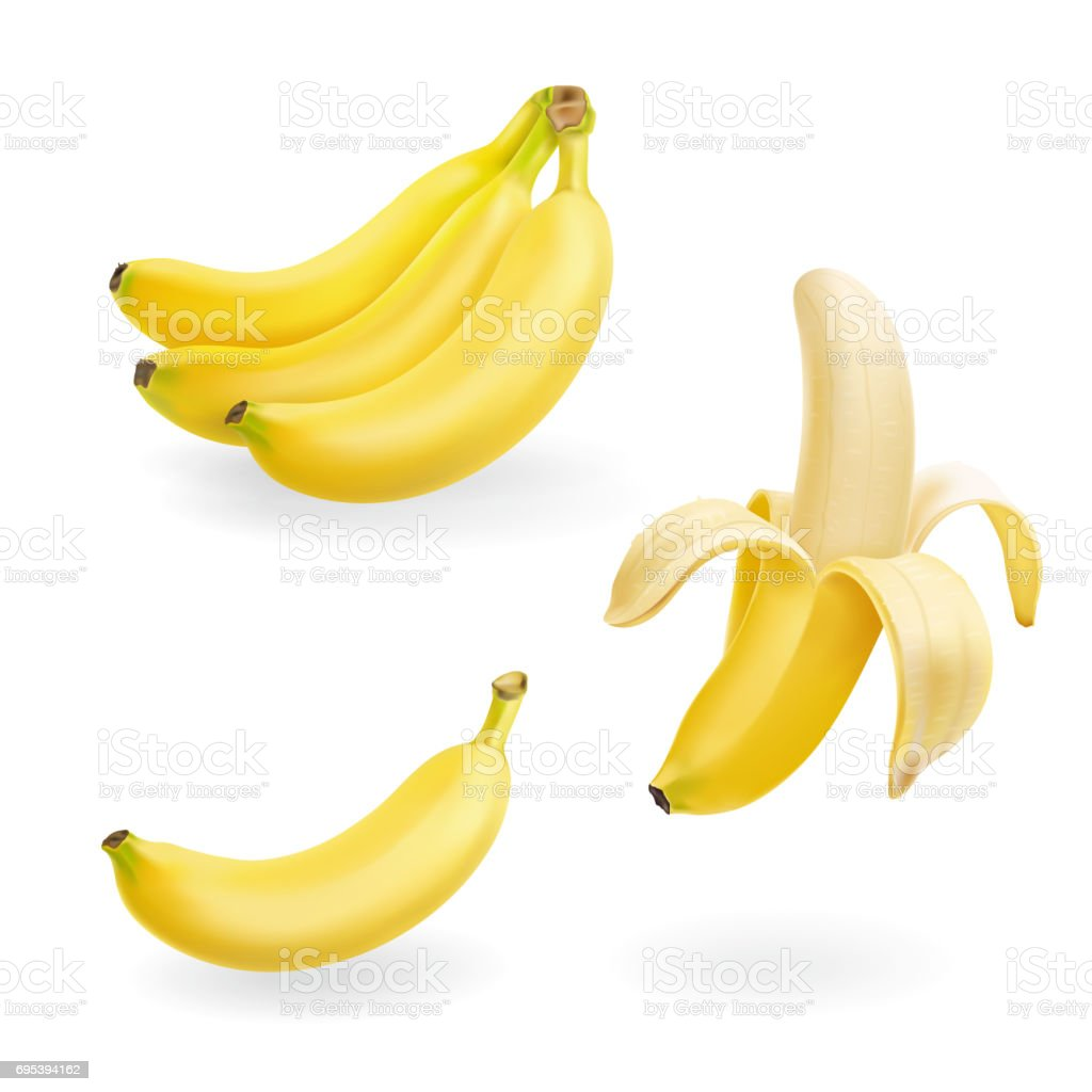 Banana fruit set vector realistic icons illustration vector art illustration