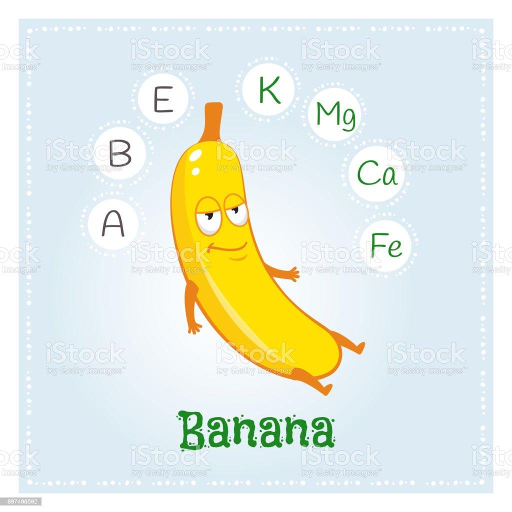 bananen fr chte vitamine und mineralstoffe lustige frucht charakter gesunde ern hrungabbildung. Black Bedroom Furniture Sets. Home Design Ideas