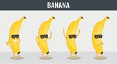 Banana. Funny cartoon fruits. Organic food. Vector
