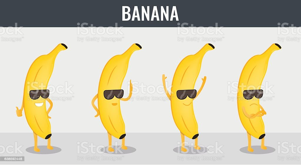 Banana. Funny cartoon fruits. Organic food. Vector vector art illustration
