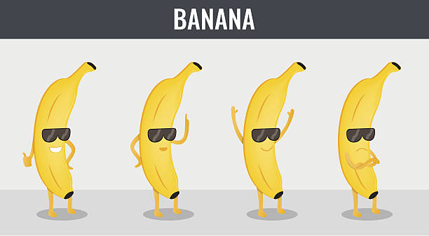Banana. Funny cartoon fruits. Organic food. Vector - ilustración de arte vectorial