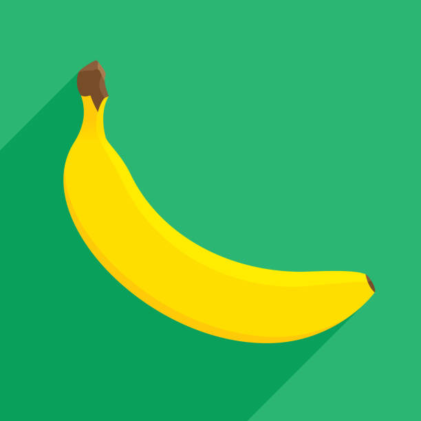 Banana Icon Flat Vector illustration of a banana against a green background in flat style. banana stock illustrations