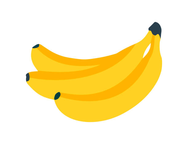 Banana icon. Fresh banana on white Banana icon. Fresh banana on white background bunch stock illustrations