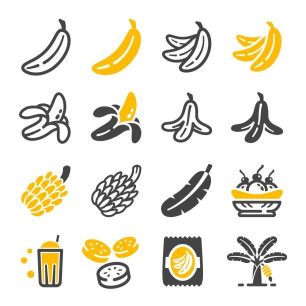 banana icon banana icon set banana stock illustrations