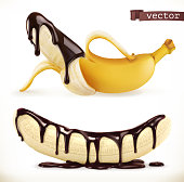 Banana in chocolate. 3d realistic vector icon