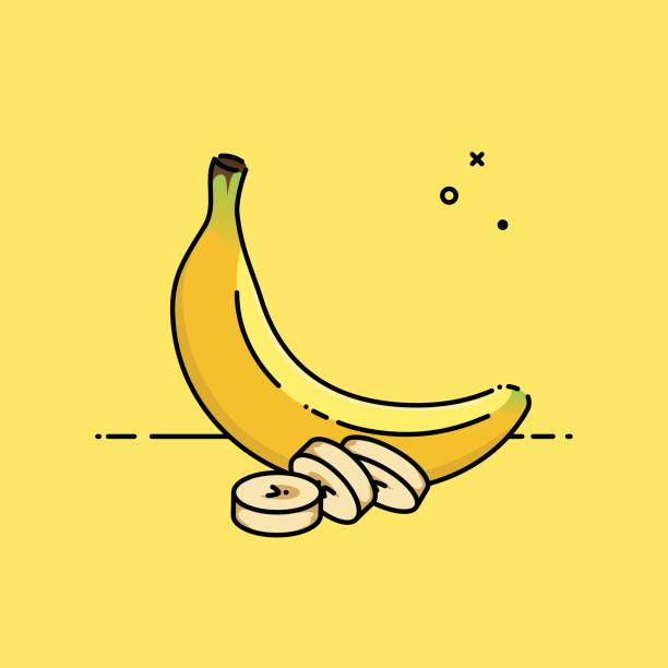 Banana isolated in yellow background with slices in the side. Flat vector illustration. Banana isolated in yellow background with slices in the side. Flat vector illustration. banana stock illustrations
