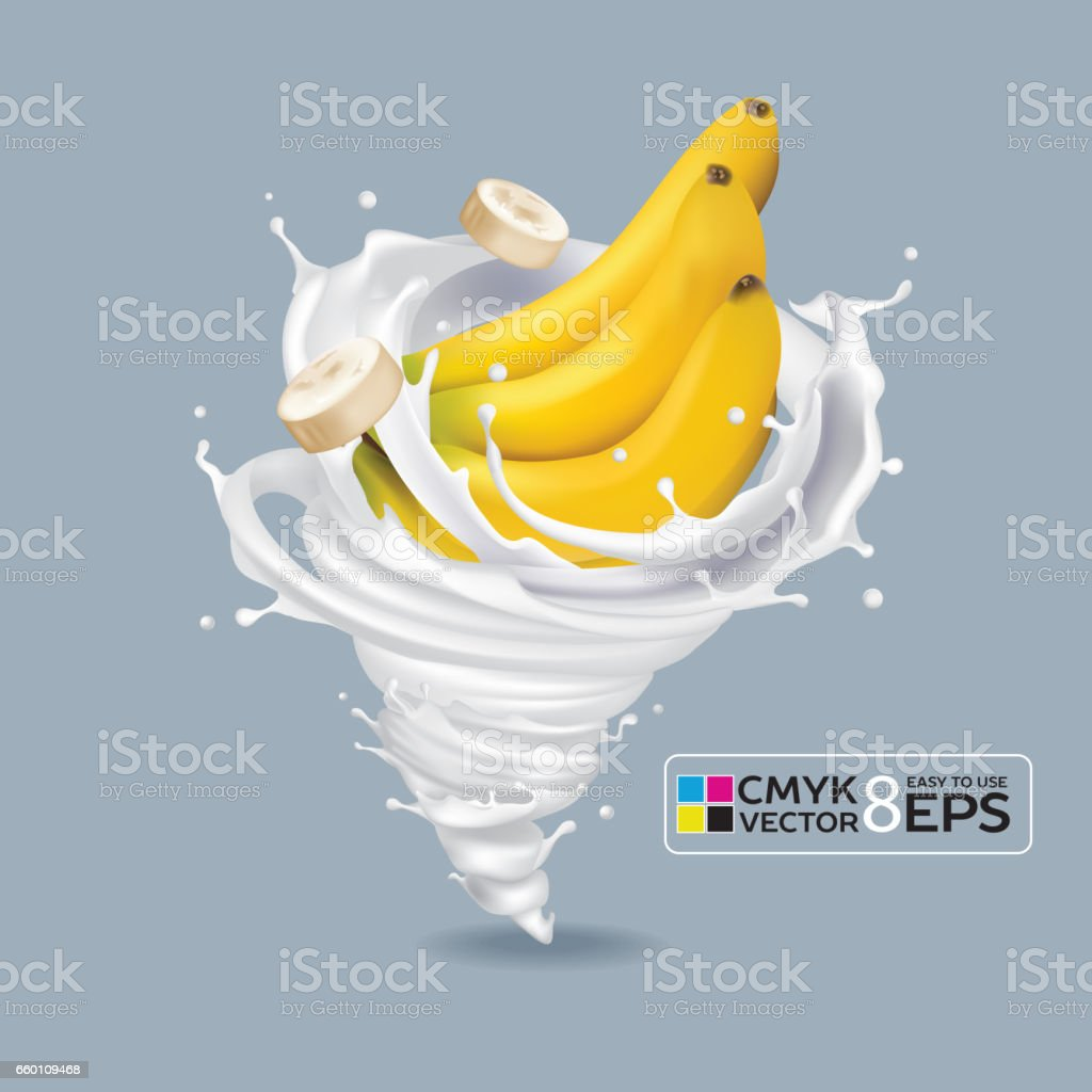 Banana Milk Tornado vector art illustration