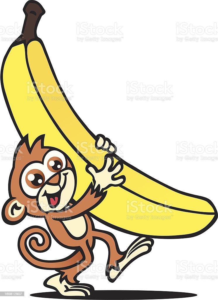 Banana Monkey vector art illustration