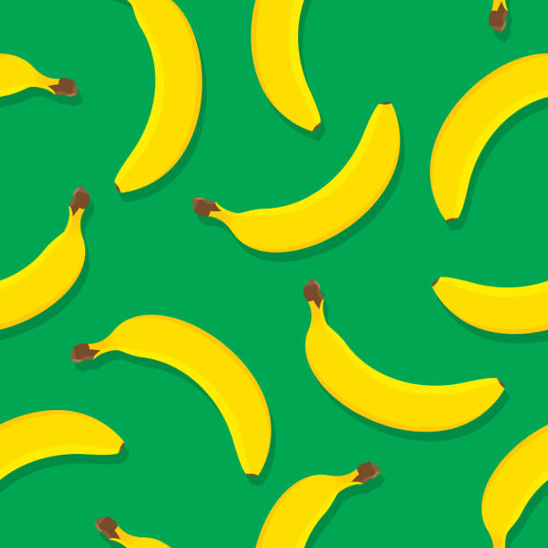 Banana Pattern Flat Vector illustration of bananas in a repeating pattern against a green background. banana patterns stock illustrations