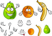Banana, pear and orange smiling fruits in cartoon style isolated on white