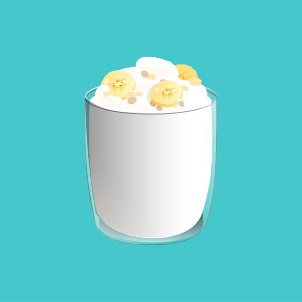 bananenpudding. gesunder veganer snack im glas. vektor-illstration isoliert auf blauem hintergrund. - vanillesauce stock-grafiken, -clipart, -cartoons und -symbole