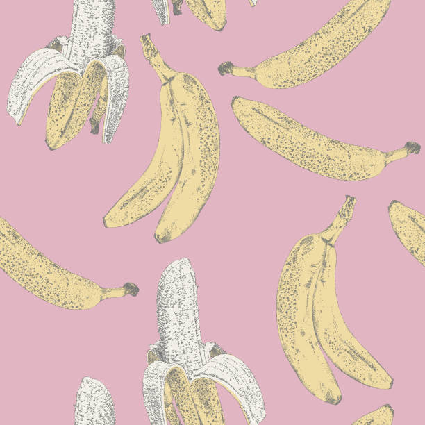 Banana Repeat Pattern Vector seamless repeat. All colors are layered and grouped separately. Icons are available in more detail and in stroke form from my iStock folio. Easily editable. banana patterns stock illustrations