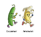 Banana character run from zombie cucumber cartoon character. Yomanbanan run from Cucuzomber. Without text