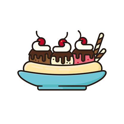 Banana split ice cream bowl isolated vector illustration