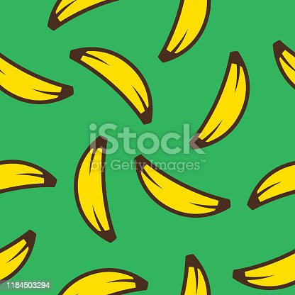 Vector illustration of bananas in a repeating pattern against a green background.