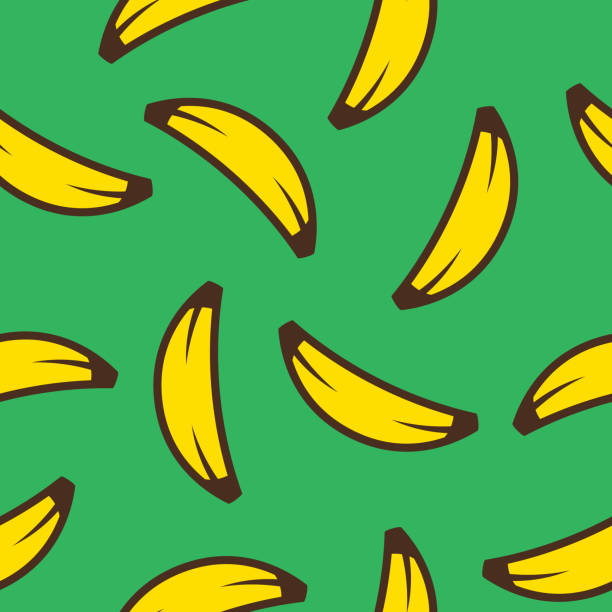 Banana Stylized Pattern Vector illustration of bananas in a repeating pattern against a green background. banana patterns stock illustrations
