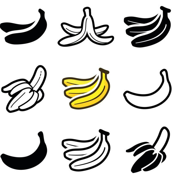 Banana Banana icon collection - vector outline and silhouette banana stock illustrations