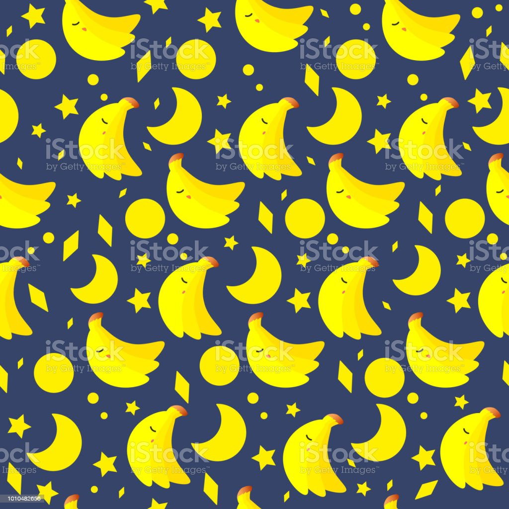 Banana with moon and stars seamless pattern vector art illustration