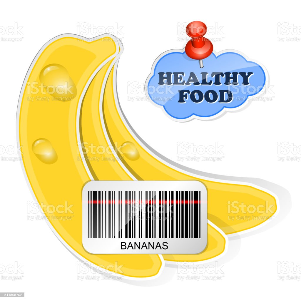 Bananas icon with barcode by healthy food stock vector art for Food barcode