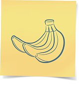 A bunch of bananas post-it note on the white,vector illustration.