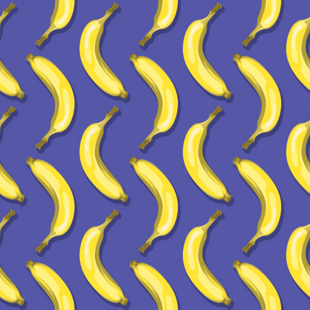 Bananas (Seamless pattern pop art style) Vector illustration of seamless pattern with yellow Bananas on a violet, purple background in a pop art style. banana patterns stock illustrations