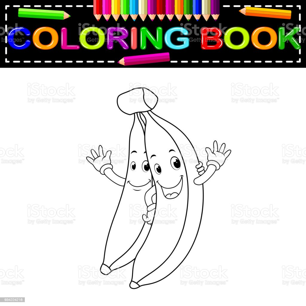 Yüz Boyama Kitabı Ile Muz Stok Vektör Sanatı Animasyon Karakter