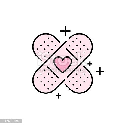Band aid icon. Pink plaster symbol. Love bandage heart sign. Vector illustration line icon.